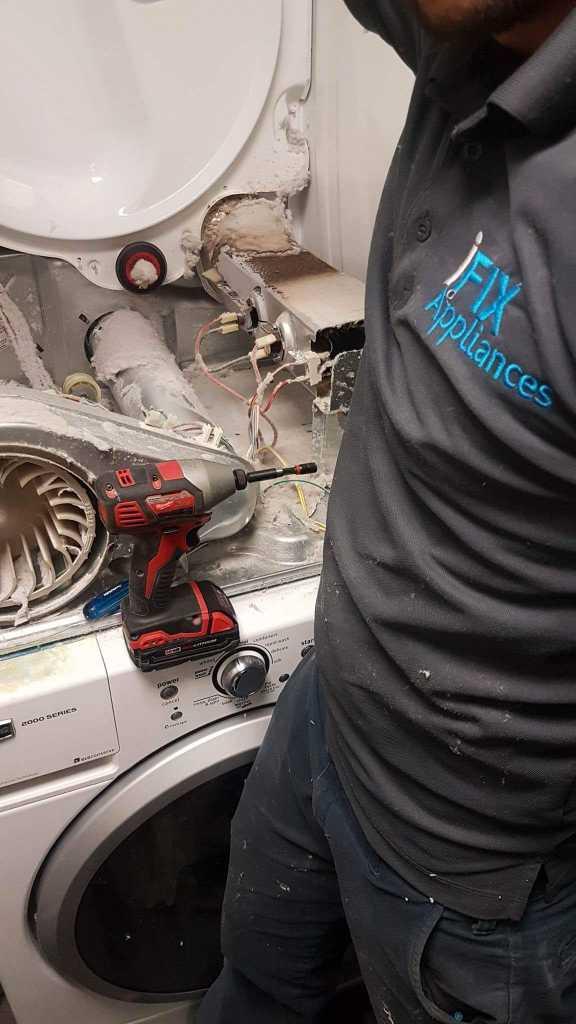 dryer repair in progress