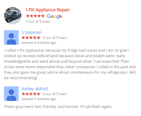 Google Reviews for I-Fix Appliances