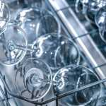clean glasses in a dishwasher
